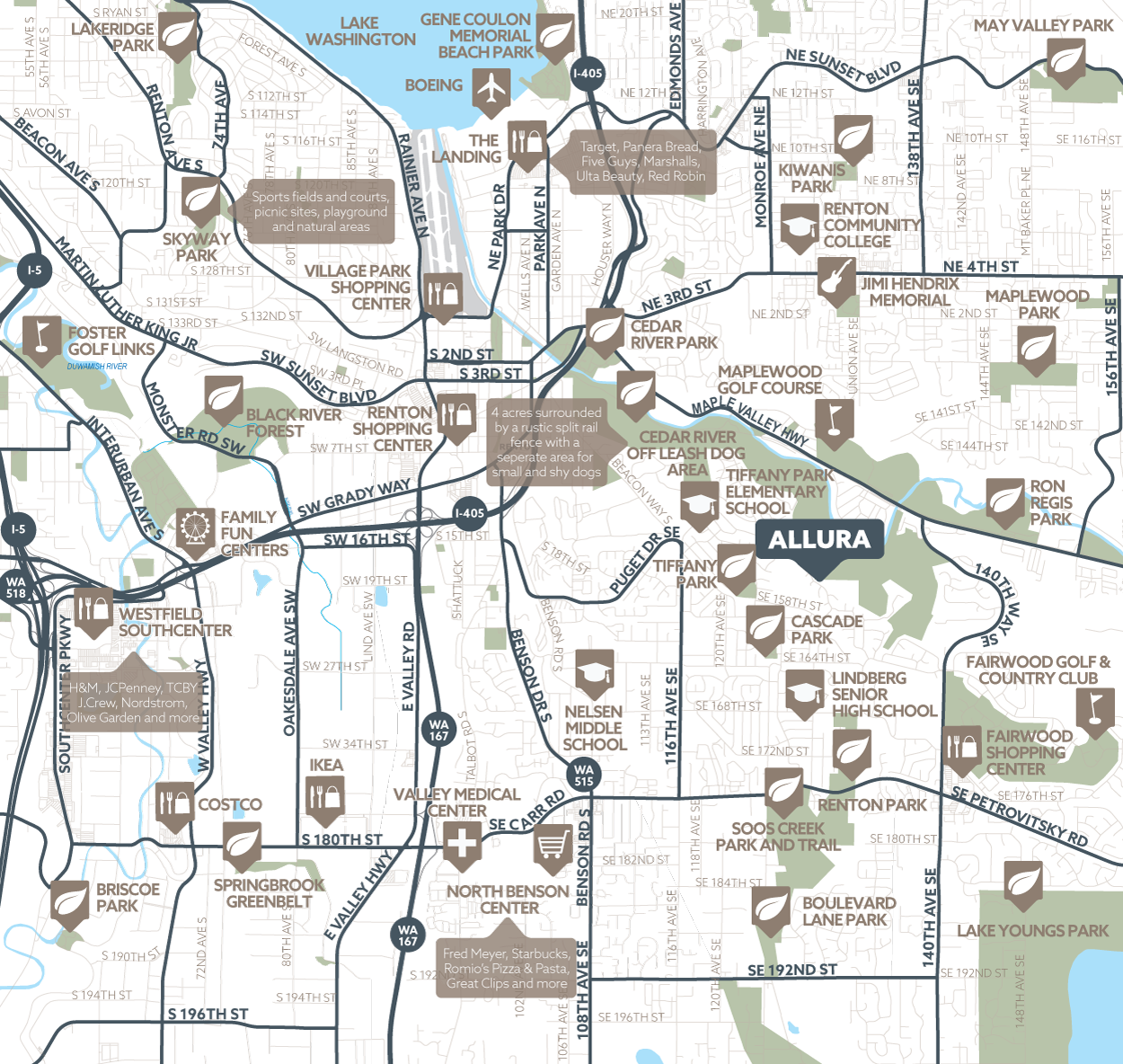 Allura amenity map