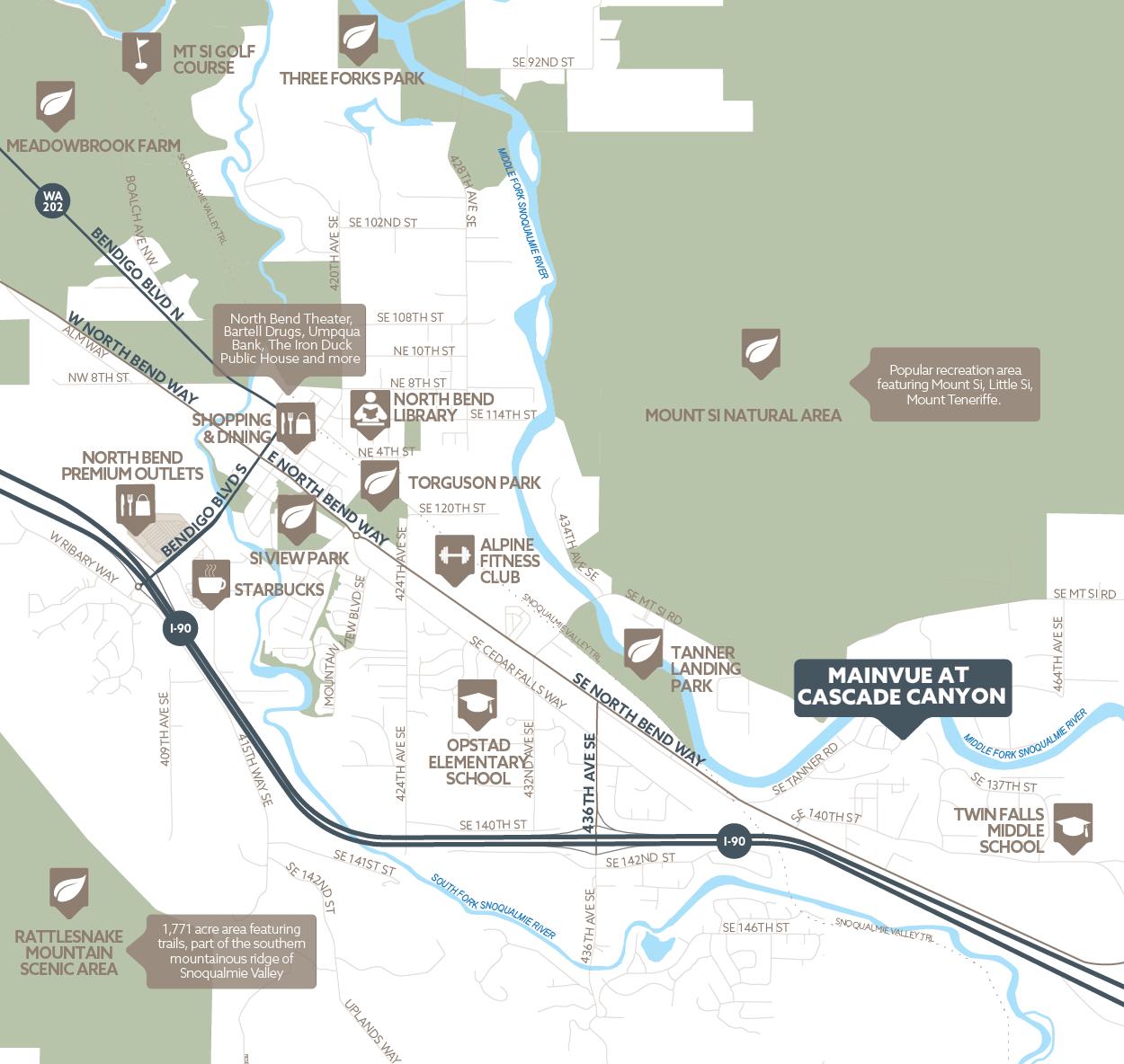 MainVue Homes at Cascade Canyon amenity map