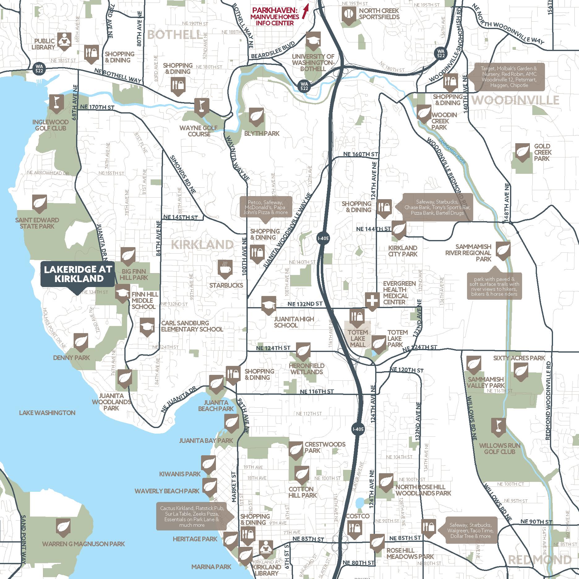 Lakeridge at Kirkland amenity map
